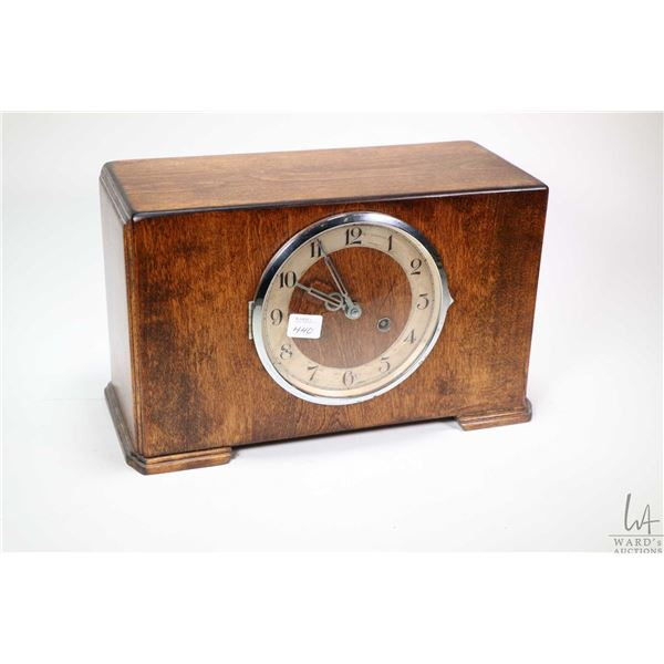 Wood cased chiming mantle clock, working at time of cataloguing