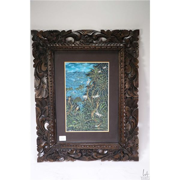 Hand painted watercolour/ gouache birds of paradise painting in hand carved frame signed by artist W