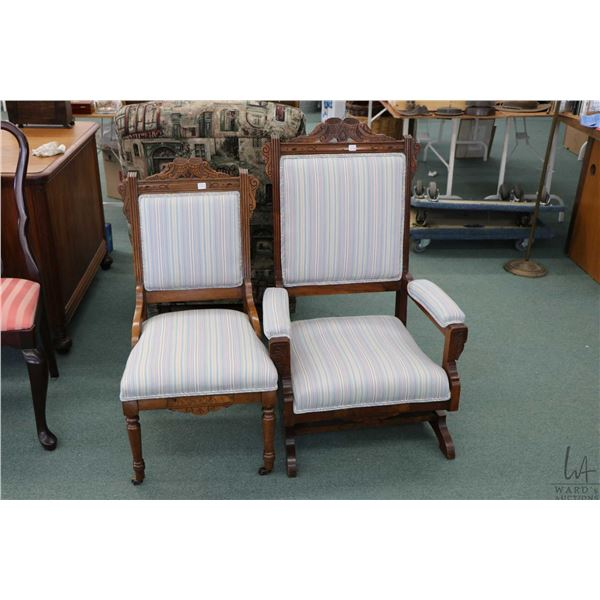Set of antique Eastlake chairs including platform rocker and slipper chair, each with matching cornu