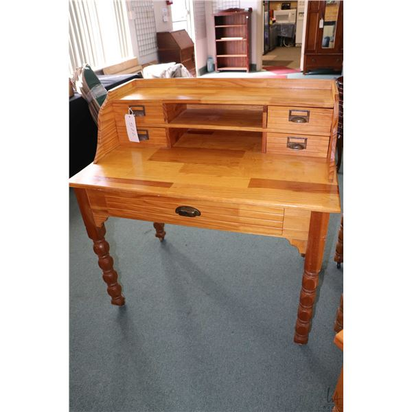 Hand crafted flat top writing desk with rear galley with drawers and cubby