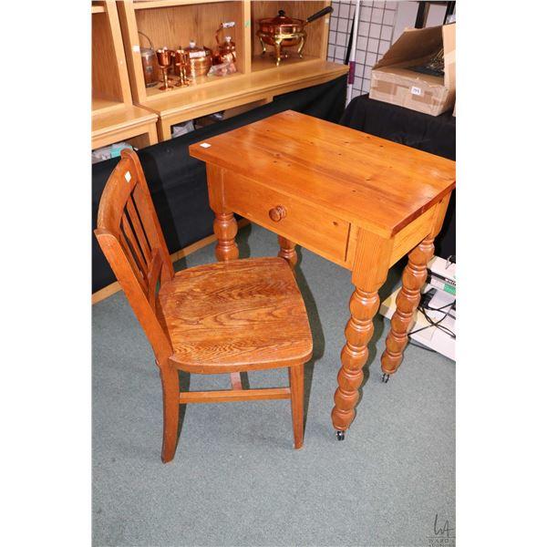 Single drawer shop made console/ small writing desk on castors and a vintage slat back oak student's