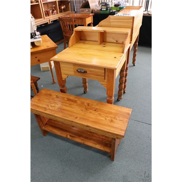 Two pieces of country pine including single drawer flat top writing desk and a small bench