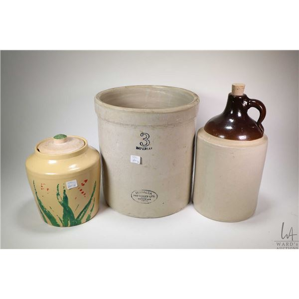 Selection of stoneware including a Medalta 3 gallon crock, an unmarked jug and a Red Wing Safronware