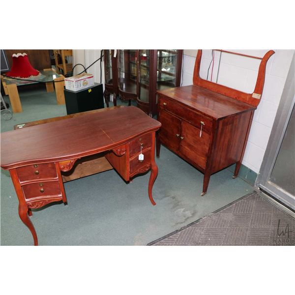 Harp back two door, single drawer washstand and a ladies delicate four drawer vanity sans mirror