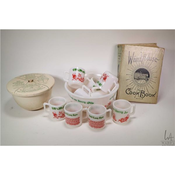 Vintage Tom abd Jerry milk glass punch bowl with nine Christmas themed nog/punch cups, a Whitehouse