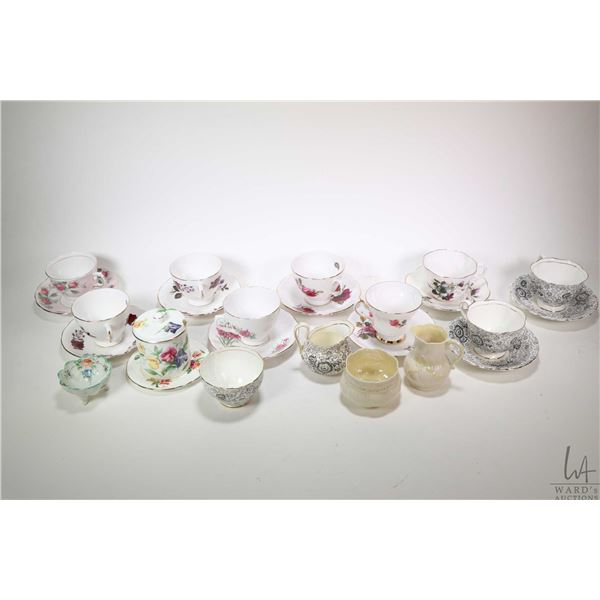 Two trays of china collectibles, nine teacups and saucers including Royal Chelsea, Colclough, Windso