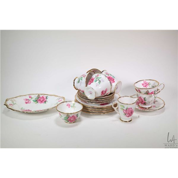 """Selection of Royal Stafford """"Berkley Rose"""" china including six teacups and five saucers, six side pl"""