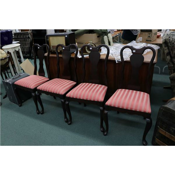 Four matching Gibbard brand dining chairs with cabriole supports and striped upholstery