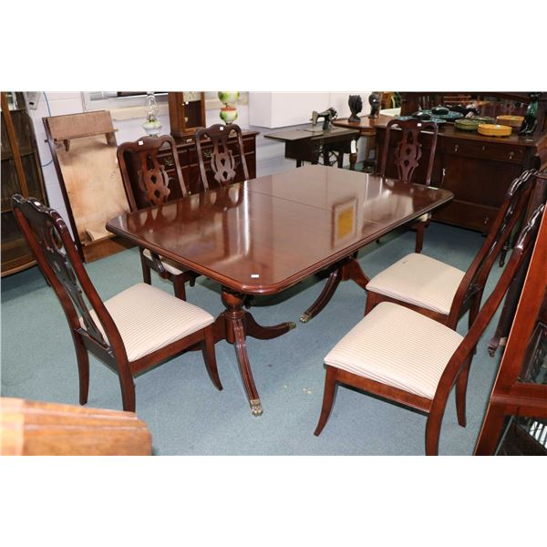 """Modern Regency style double pedestal dining table with splayed supported and brass claw feet, 68"""" X"""