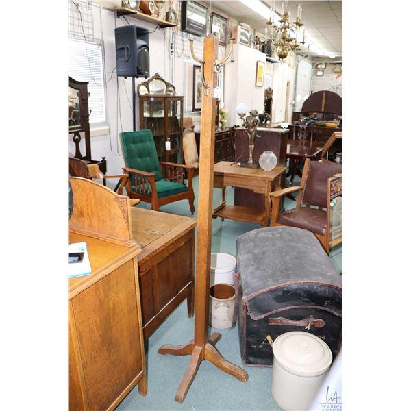 Antique quarter cut oak Mission influences coat pole with brass hooks