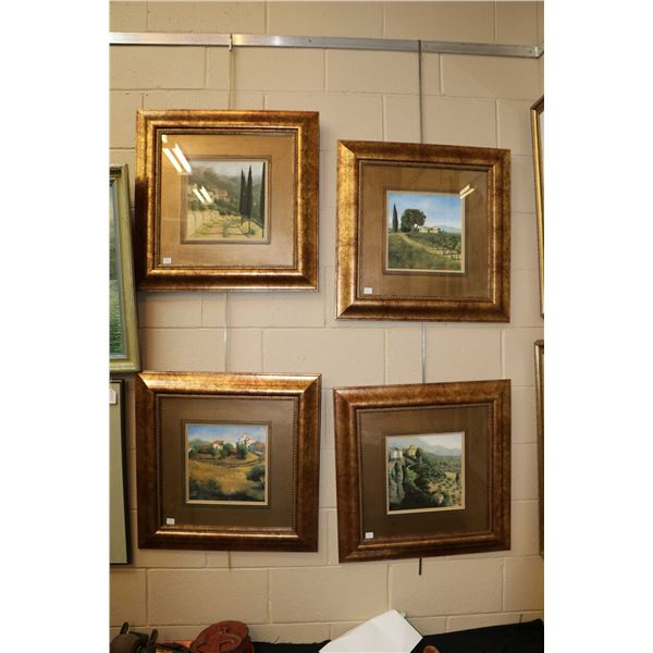 Four gilt framed decor prints featuring Italy's wine country