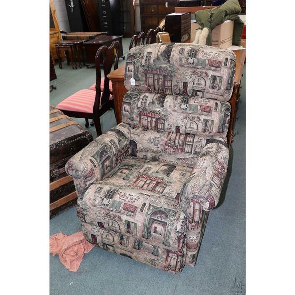 Upholstered reclining La-Z-boy rocker with French shop scene upholstery