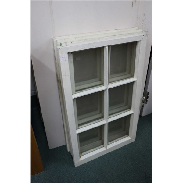 """Four antique windows including two sliders and two fixed, outside dimensions 31"""" X 19 1/2"""""""