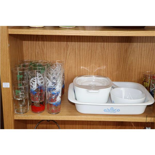 Shelf lot of collectibles including a selection of Corning ware casseroles, four with lids plus a se