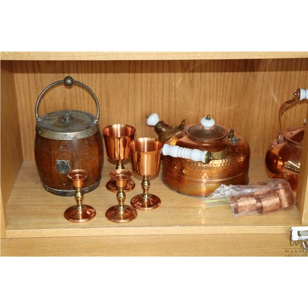 Shelf lot of collectibles including copperware Dish double boiler chaffing dish,  tea pot, two goble