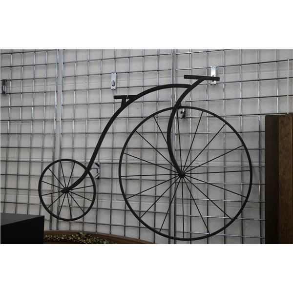"""Penny Farthing motif wrought iron wall hanging 29"""" in height and a wooden wall mount coat hook with"""