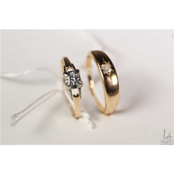 Two vintage rings including Birks 18kt yellow gold ring set with diamond 7.25 and a 14kt yellow and