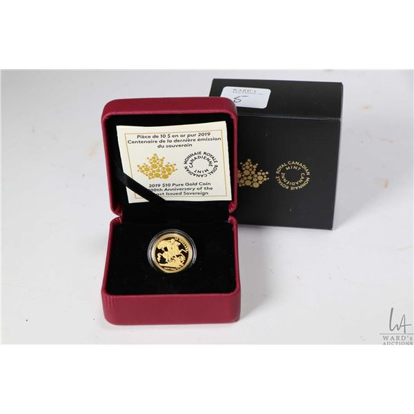 """Royal Canadian Mint boxed 2019 Pure gold $10 """"100th Anniversary of the Last Issue Sovereign"""" coin wi"""