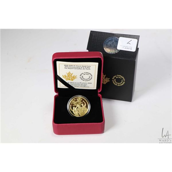 """Royal Canadian Mint boxed 2020 """"75th Anniversary of V-E Day, The Royal Canadian Air Force"""" $100 coin"""