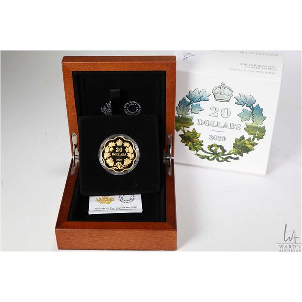 """Royal Canadian Mint wood cased 2020 """"Iconic Maple Leaves"""" $20 fine silver and gold plated coin, 38 m"""