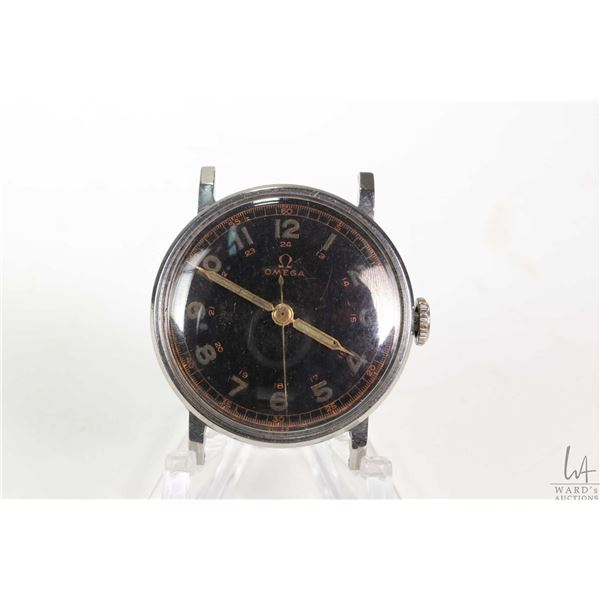 Vintage Omega hand wind 18 jewel wrist watch with stainless steel case, circa 1940, working at time