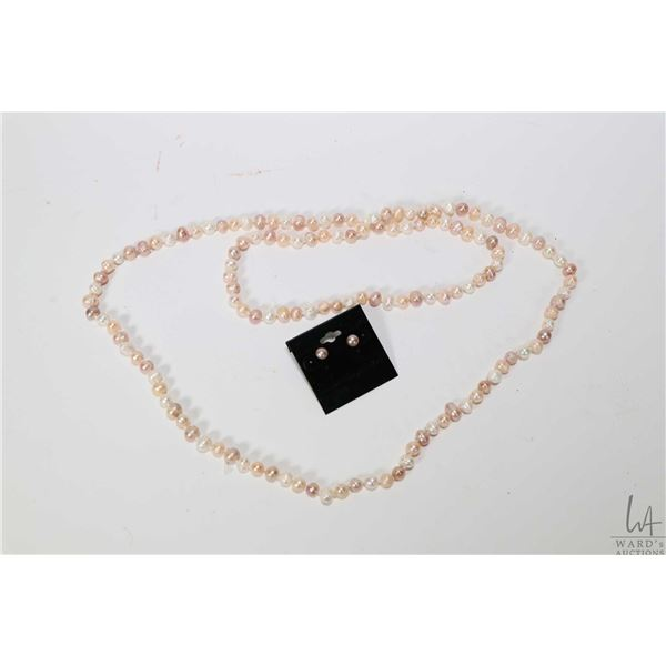 """Strand of individually knotted multi coloured pink peach and cream genuine fresh water pearls 46"""" in"""
