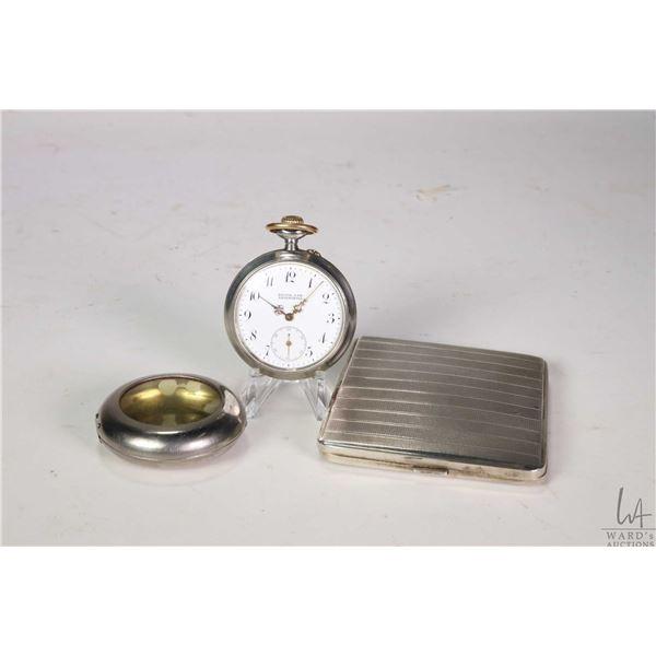 "Vintage 800 silver cigarette case, plus a vintage pocket watch with white enamel dial marked ""Hienr."