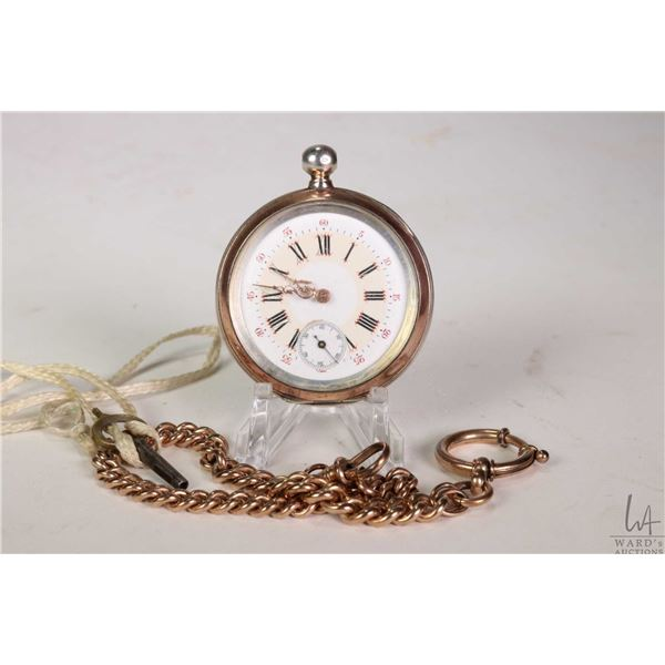 Antique pocket watch in 800 silver case with rose gold banding, white and cream enamel dial with Rom