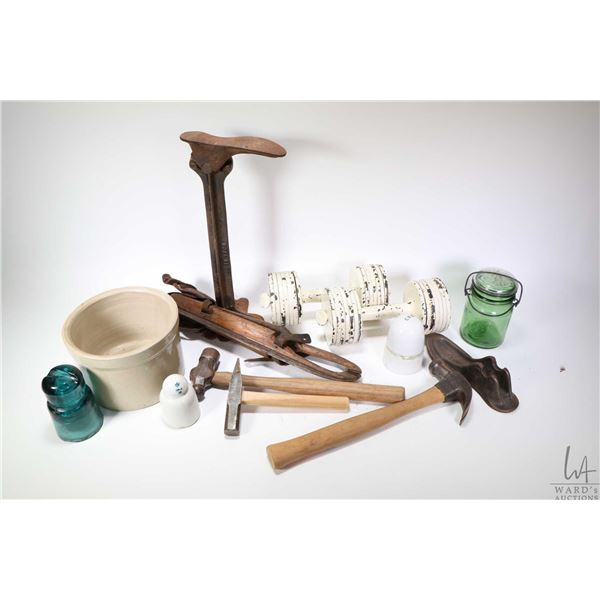 Selection of collectibles including a set of George F. Jowett progressive resistance disc dumbbells,