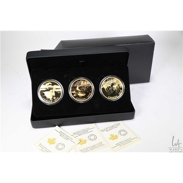 """Royal Canadian Mint boxed set of three 2019 Gold Reflections """"Predator and Prey"""" series $30 fine sil"""