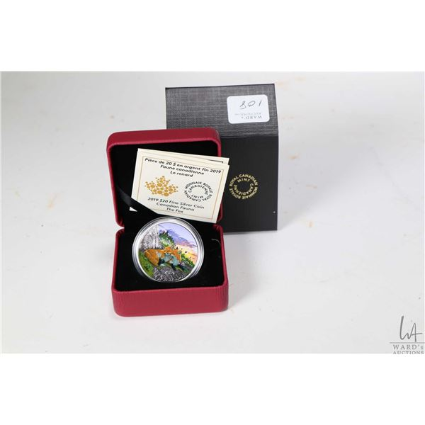Royal Canadian Mint 2019 Canadian Fauna The Fox $20, 99.99% fine silver coin, 38 millimetres and 31.