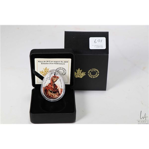 Royal Canadian Mint 2019 Hatching Hadrosaur $20, 99.99% fine silver coin, 33 millimetres X 45 millim