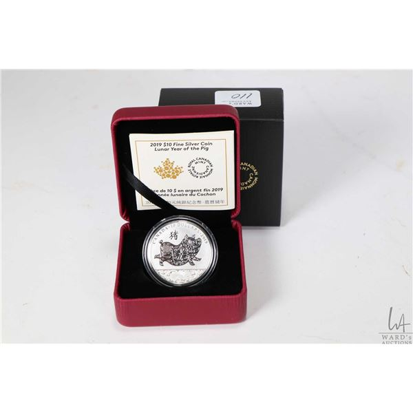 Royal Canadian Mint 2019 Lunar Year of the Pig $10, 99.99% pure silver coin, 34 millimetres and 15.8