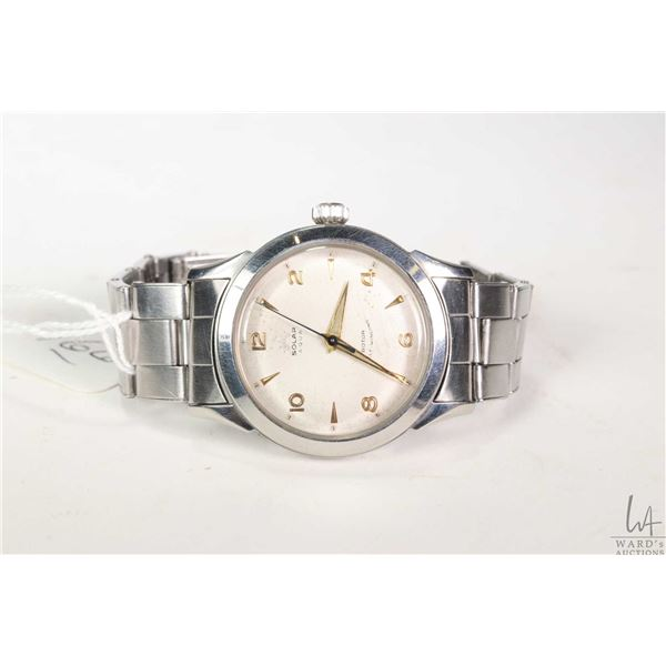 Vintage Solar-Aqua wrist watch with stainless Tudor case and original Rolex stainless bracelet. Swis