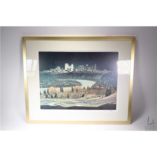 Framed block print titled Edmonton, ?, pencil signed by artist Weber '80. Not Available For Shipping