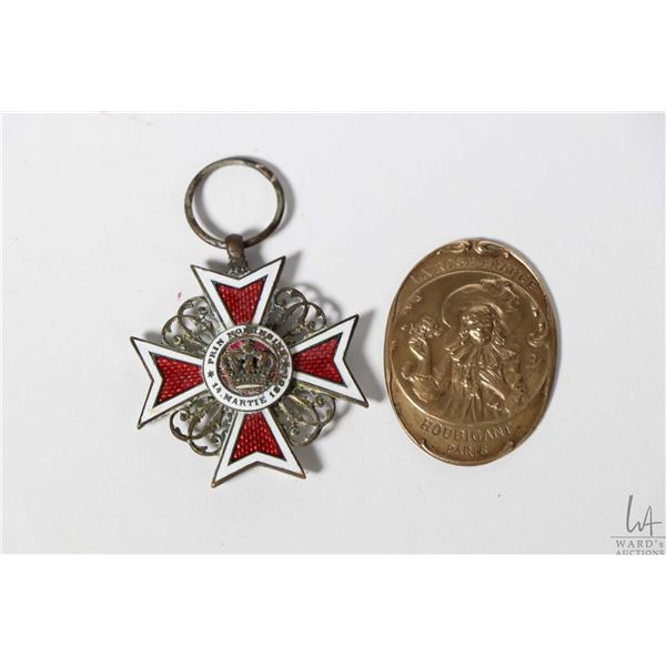 """Romanian war medal """"Order of the Crown"""" knights cross and a French Houbigant Perfume bottle medallio"""