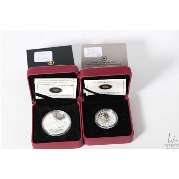Two Royal Canadian mint boxed coins including 2012 fine 99.99% silver $3 coin set with Swarovski cry