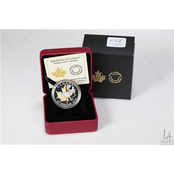 Royal Canadian Mint 2018 Timeless Icons 99.99% fine silver $25 coin with caribou and gold plated map