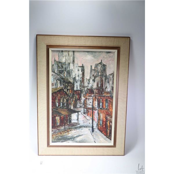 """Framed acrylic on board painting titled on verso """"Downtown"""" K-64 and signed by artist (James Lorimer"""