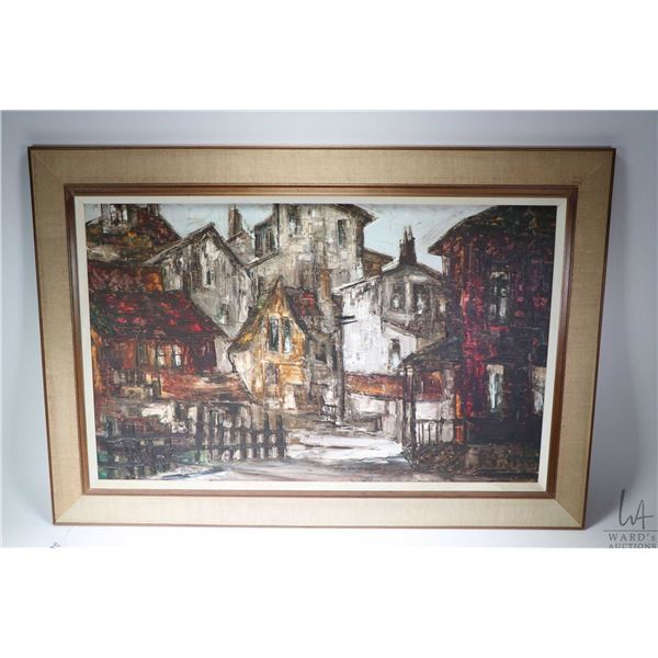"""Framed acrylic on board painting titled on verso """"The Old Section"""" K-70 and signed by artist (James"""