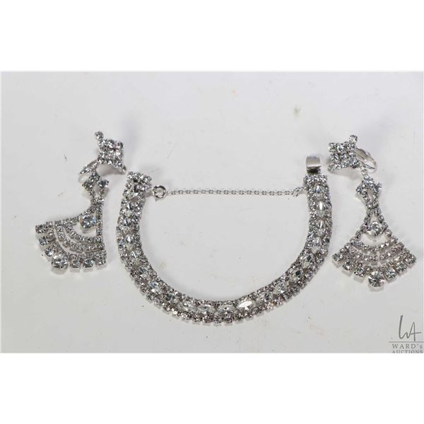 Selection of vintage signed Sherman jewellery including diamante bracelet and a pair of clip on diam