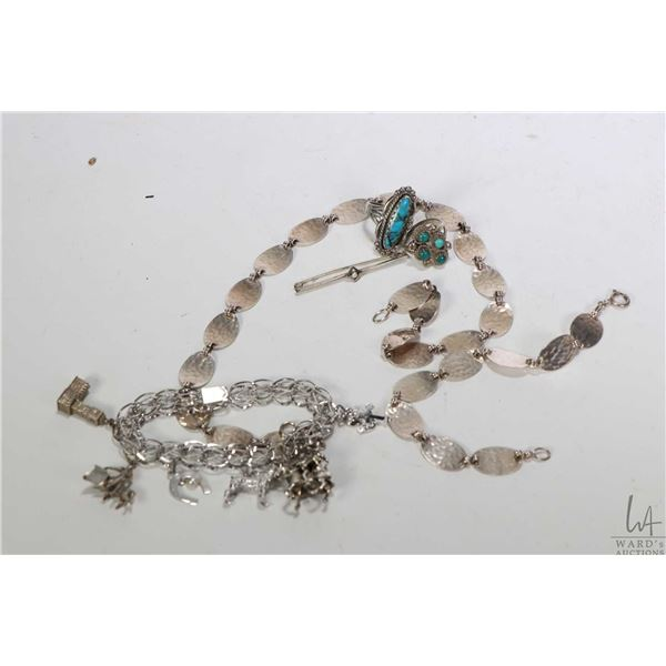 """Selection of sterling and silver jewellery including hammered 17"""" neck lace and matching 8"""" bracelet"""