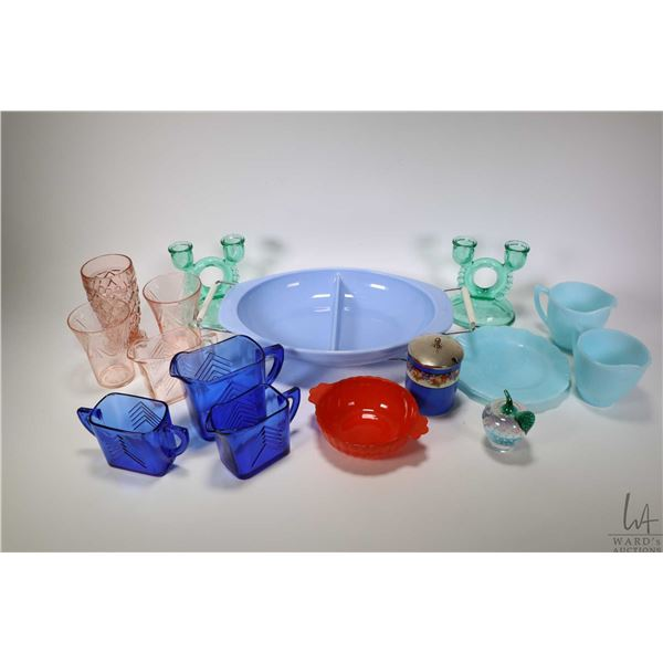 Two trays of vintage and collectible glass including cobalt cream, sugar and milk jug, pair of green