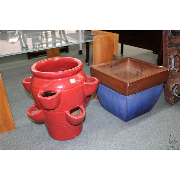 """Two glazed pottery planters including strawberry planter 16"""" in height. Not Available For Shipping."""