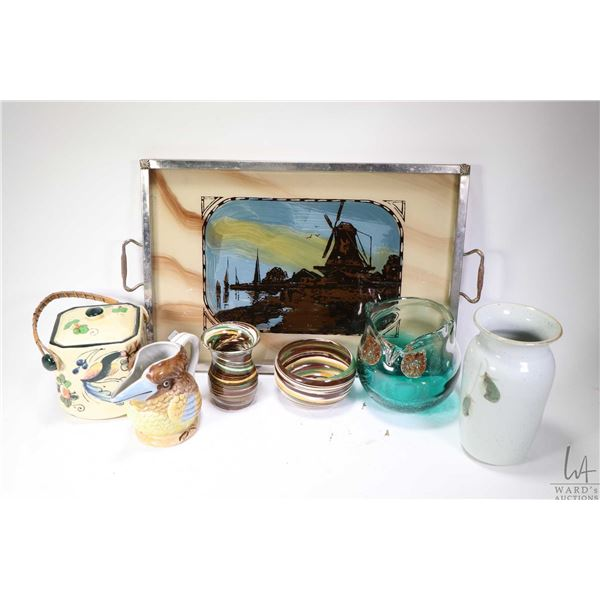 Vintage chrome double handled tray with hand painted village scene under glass including two pieces