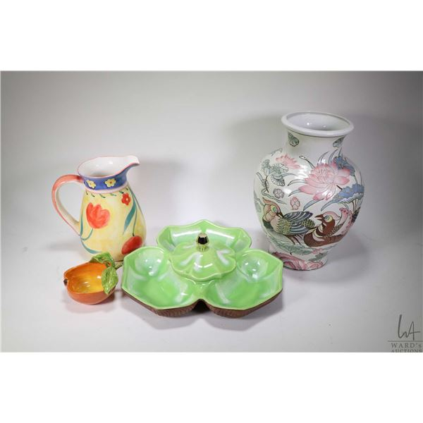Selection of vintage and collectible pottery including leaf motif divided dish, Old Foley shaving mu