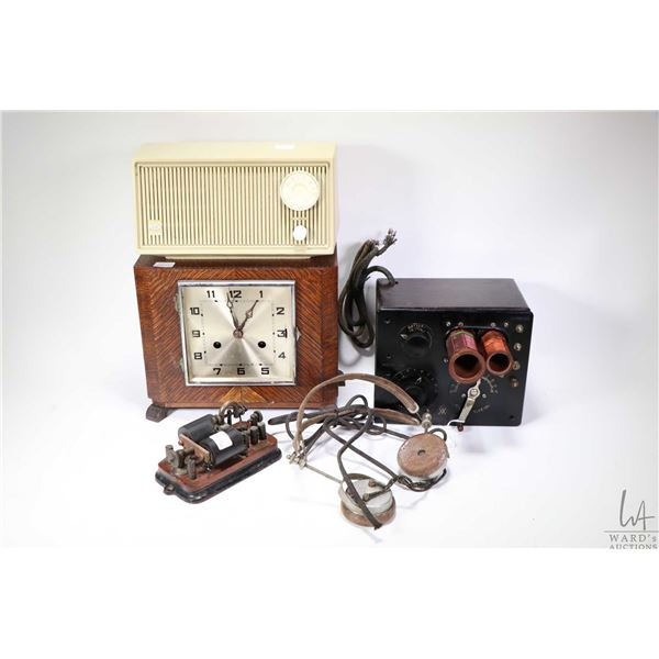 Two vintage radios including a Radiola III, with headphones, not working, a RCA electric table top m