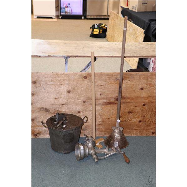 Vintage Universal No. 4 galvanized metal bread making bucket, a Landers, Mora & CIA meat grinder, a