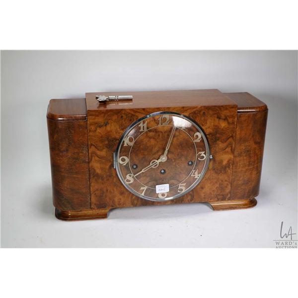 Vintage burl walnut cased Westminster chiming mantle clock, working at time of cataloguing