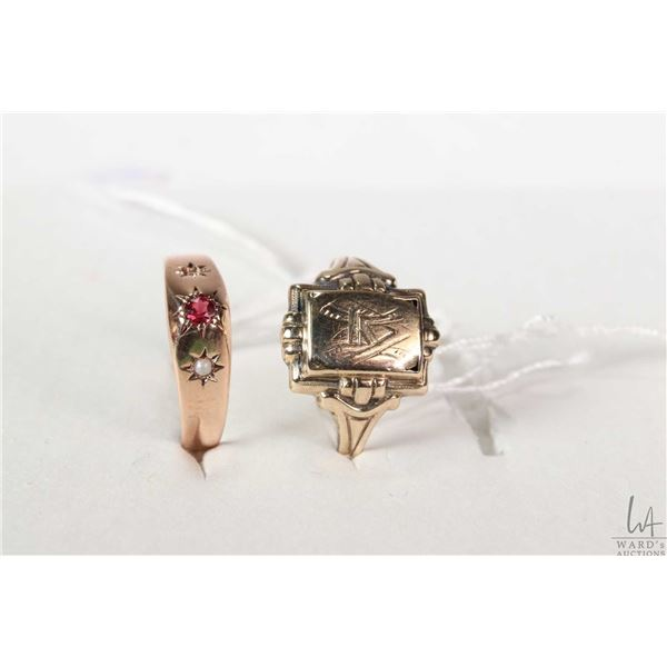 Two antique 8kt rings including rose gold with small ruby like gemstone and seed pearl, marked with